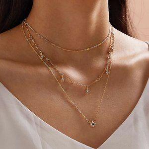 3/$25 Layered Stars & Black Sun Necklace